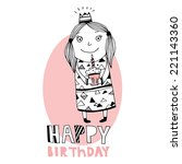 happy birthday card with cute... | Shutterstock .eps vector #221143360