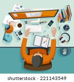 workplace concept. flat design. | Shutterstock .eps vector #221143549