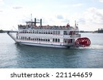 cruising on the river on a...