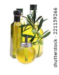 bottle of olive oil with raw... | Shutterstock . vector #221159266