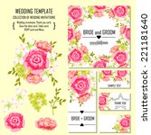 wedding invitation cards with...   Shutterstock .eps vector #221181640