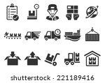 logistics vector line icon set. ... | Shutterstock .eps vector #221189416