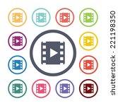 video flat icons set. open... | Shutterstock .eps vector #221198350