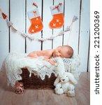 Cute Newborn Baby Sleeps In A...