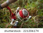 fishing reel with setup for... | Shutterstock . vector #221206174