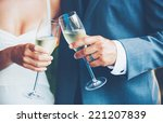 wedding couple toast  | Shutterstock . vector #221207839
