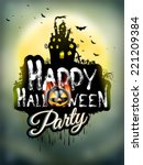 halloween night background with ... | Shutterstock .eps vector #221209384