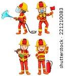 illustration of fireman with...   Shutterstock .eps vector #221210083