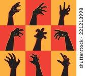 hands set for halloween... | Shutterstock .eps vector #221213998
