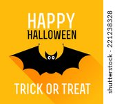 cute bat. happy halloween card. ... | Shutterstock .eps vector #221238328