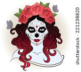 girl with sugar skull face... | Shutterstock .eps vector #221238820