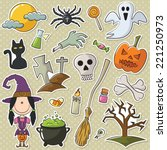 cute girl like a witch with... | Shutterstock .eps vector #221250973