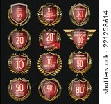 anniversary gold and red shield | Shutterstock .eps vector #221258614