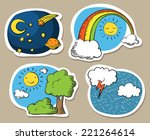 set of cute cartoon skies  with ... | Shutterstock . vector #221264614
