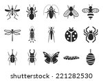 insect icons   illustration | Shutterstock .eps vector #221282530