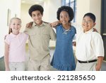 multi ethnic children standing... | Shutterstock . vector #221285650