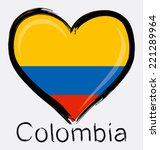 love colombia grunge flag  | Shutterstock .eps vector #221289964
