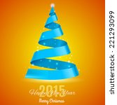blue ribbon christmas tree on... | Shutterstock .eps vector #221293099