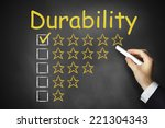 hand writing durability on... | Shutterstock . vector #221304343