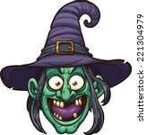 cartoon witch face. vector clip ... | Shutterstock .eps vector #221304979