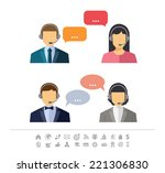 call center operator with... | Shutterstock .eps vector #221306830