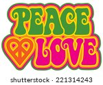 peace and love retro style text ...   Shutterstock .eps vector #221314243