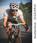 cyclist portrait in action on... | Shutterstock . vector #221315914