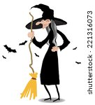 witch with broom standing in... | Shutterstock .eps vector #221316073