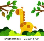 giraffe at forest isolated on... | Shutterstock . vector #221345734