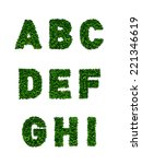 a to i  alphabets of green... | Shutterstock . vector #221346619