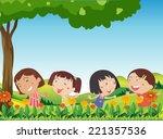 illustration of the happy kids...   Shutterstock . vector #221357536