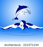 swimmer and dolphin in the open ... | Shutterstock .eps vector #221371144