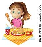 illustration of a girl eating...   Shutterstock . vector #221377000