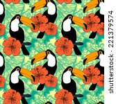 seamless pattern with toucans... | Shutterstock . vector #221379574