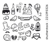 marriage drawn set | Shutterstock .eps vector #221393326