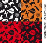 halloween pattern colored red... | Shutterstock .eps vector #221393350