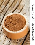 cocoa powder in round ceramic... | Shutterstock . vector #221407996