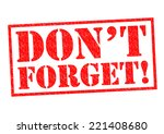don't forget  red rubber stamp... | Shutterstock . vector #221408680