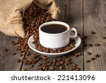 coffee cup and bag with coffee...   Shutterstock . vector #221413096