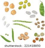 set of different beans on white ... | Shutterstock .eps vector #221418850