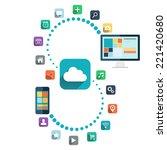 cloud computing. desktop... | Shutterstock .eps vector #221420680