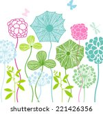 beautiful flower bed   Shutterstock .eps vector #221426356