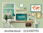 Stock vector illustration of modern workplace in room creative office workspace with map flat minimalistic 221430793