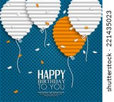 birthday card with balloons in... | Shutterstock .eps vector #221435023