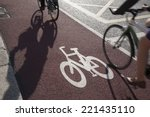 cycle lane with cyclist in... | Shutterstock . vector #221435110