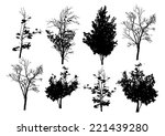 vector trees in silhouettes | Shutterstock .eps vector #221439280