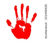 Red Hand Print On White...