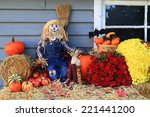 Scarecrow  Harvest And Flowers  ...