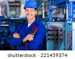cheerful young industrial... | Shutterstock . vector #221459374
