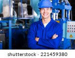 cheerful young factory worker... | Shutterstock . vector #221459380
